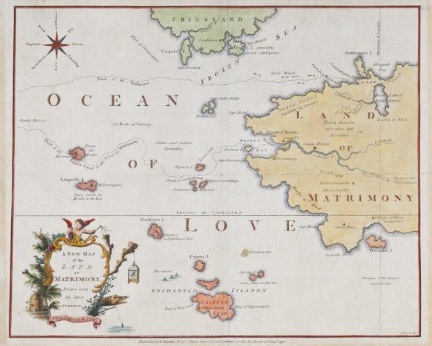 Un nuevo mapa de la tierra del matrimonio, extraído de las últimas encuestas (1772). Anna Laetitia Barbauld.