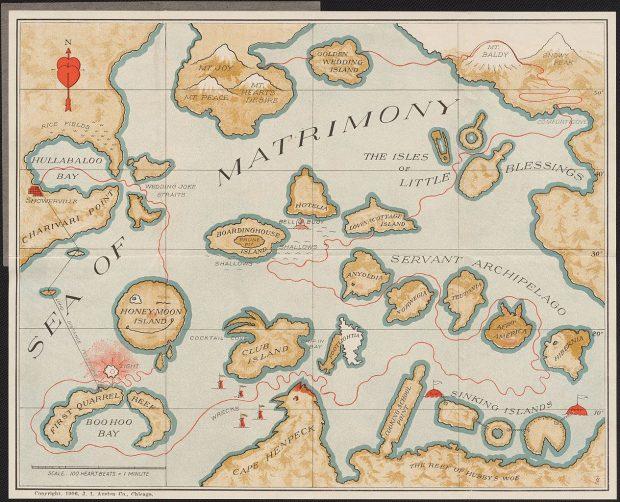 Mapa de bolsillo del Mar del Amor. J.I. Austen Co. 1906. Wikimedia Commons.