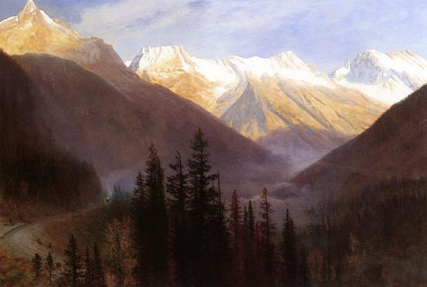 Cuadro de Albert Bierstadt. Sunrise at Glacier Station 1889–90. Wikimedia Commons.