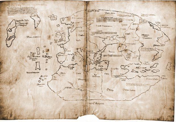 Mapa de Vinlandia. Notorio por sus islas fantasmas.