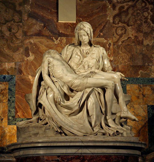 Piedad del Vaticano, obra de Miguel Ángel, 1498/9–1500, mármol. Wikimedia Commons.