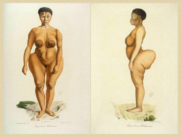 """Grabado presuntamente científico de Sarah """"Saartjie"""" Baartman, aparecido en el libro Ilustraciones de la Historia Natural de los mamíferos. Wikimedia Commons."""