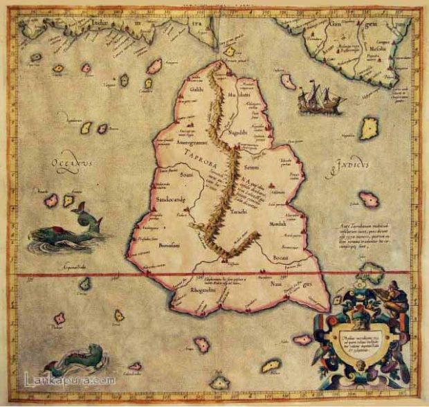 Mapa de Taprobana. Wikimedia Commons.