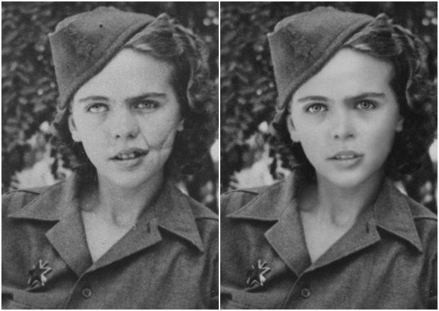Albina Mali-Hočevar, después de la guerra (izquierda) y antes de la guerra.