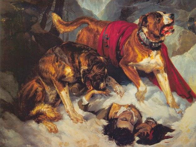 Alpine mastiffs reanimating a distressed traveller - De dónde surge la idea de que los San Bernardo llevan un barril de brandy colgado al cuello | ¿De dónde surge la idea de que los San Bernardo llevan un barril de brandy colgado al cuello?