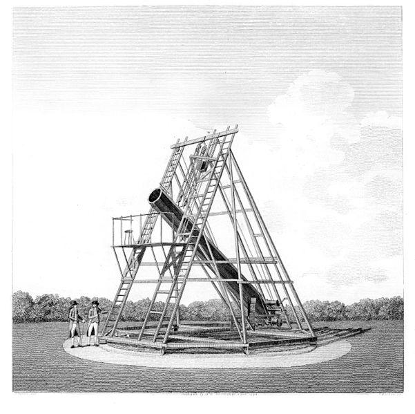 Ilustración del telescopio de William y Caroline Herschel