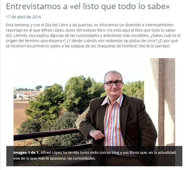 Captura entrevista Alfred López en la web de la revista PRONTO