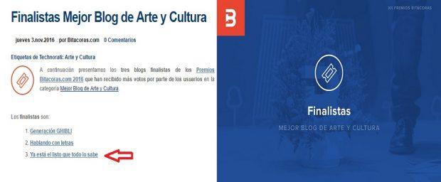 Finalista Bitácoras 16 categoría de Mejor Blog Arte y Cultura