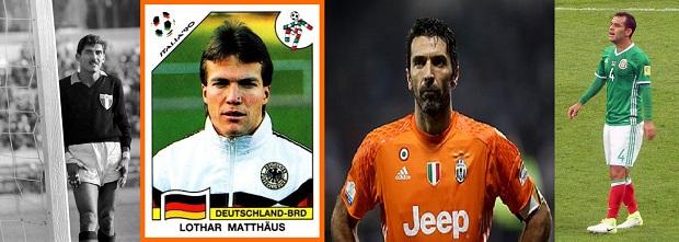 Jugadores que han participado en más Mundiales de Fútbol