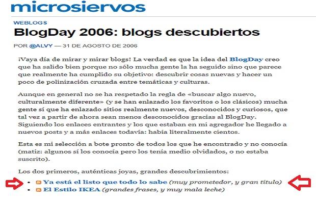 """""""Ya está el listo que todo lo sabe"""" uno de los blogs más recomendados en el BlogDay2006"""