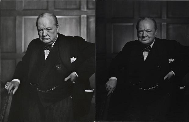 Winston Churchill fotografiado en 1941 por Yousuf Karsh. La fotografía de la izquierda fue publicada por la revista LIFE y se hizo inmensamente famosa (Imágenes vía Wikimedia commons)