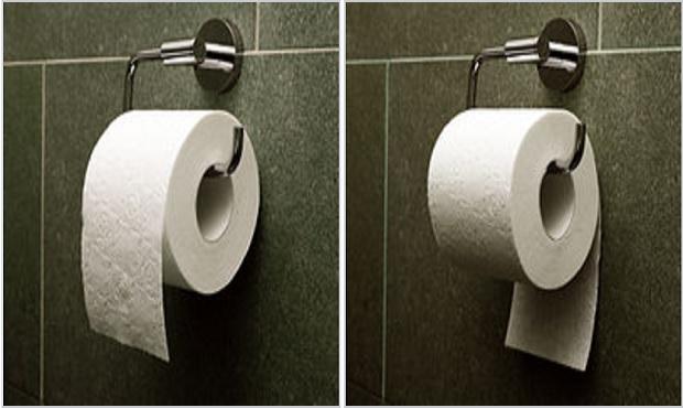 ¿Cuál es el modo correcto de colocar el rollo de papel higiénico?