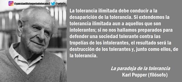 'La paradoja de la tolerancia' de Karl Popper o por qué no se debe tolerar a los intolerantes