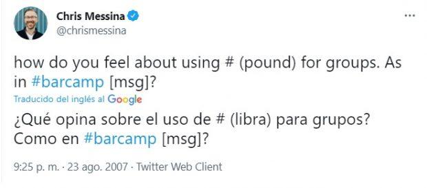 ¿Cuál es el origen de las etiquetas (hashtags) utilizadas en las redes sociales?
