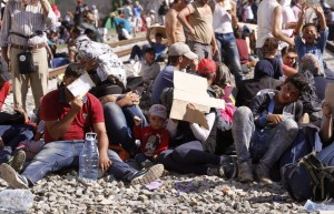 Foto de los refugiados en la frontera entre Serbia y Croacia . (Antonio Bat /  EFE)