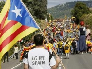 Cadena humana en Cataluña.