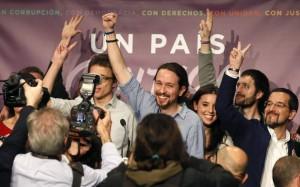 Pablo Iglesias tras su comparecencia para valorar los resultados electorales (EFE).