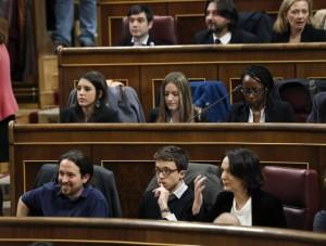 Varios diputados de Podemos en el Congreso (EFE).
