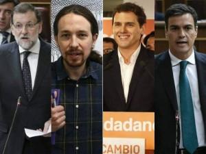 Los líderes de los cuatro partidos políticos más votados (20 Minutos).