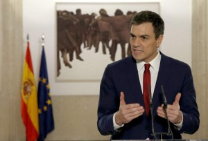 El secretario general del PSOE, Pedro Sánchez durante una rueda de prensa (Chema Moya/EFE).