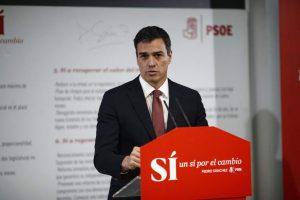 Pedro Sánchez en la presentación del documento 'Sí por el cambio' (Europa Press).