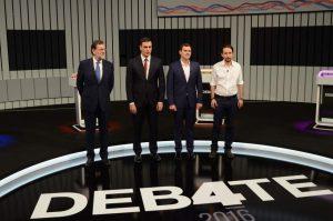 Los cuatro candidatos a la Presidencia del Gobierno, en el debate a cuatro (Europa Press).
