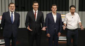 Debate a cuatro con Rajoy, Sánchez, Rivera e Iglesias (EFE).