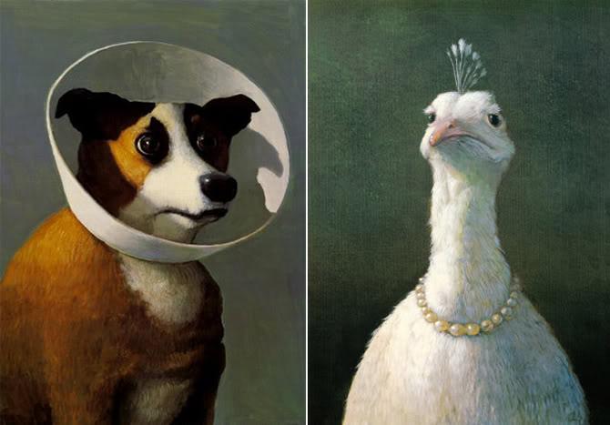 Perro con cuello isabelino y ave con perlas - Michael Sowa