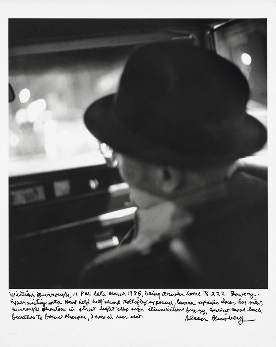 """Allen Ginsberg - """"William Burroughs, 11 pm late March 1985, being driven home to 222 Bowery…"""", 1985"""