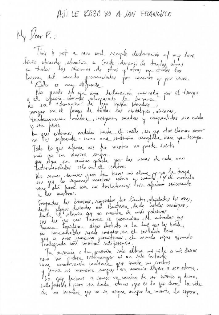 """""""Así le rezo yo a San Francisco"""". Carta de Luis Pereiro a Piedad Cabo. Marzo, 1995."""