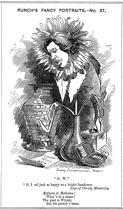 """Oscar Wilde """"más feliz que un girasol"""", caricaturizado en la revista Puch (1881)"""