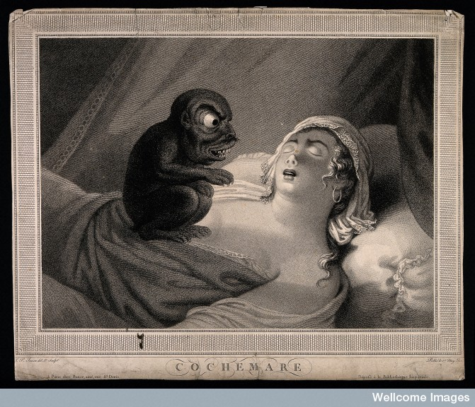 """A perturbed young woman fast asleep"" - J.P. Simon, 1810"