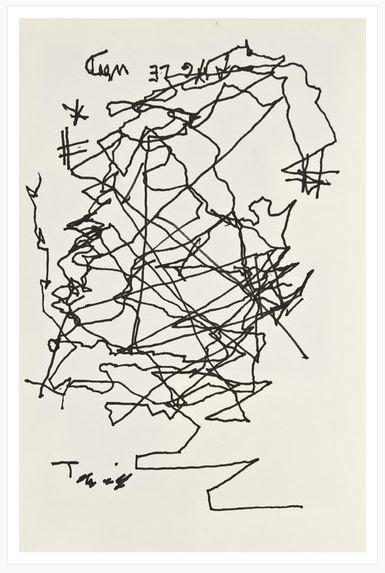 Autorretrato de Borges, en tinta y papel