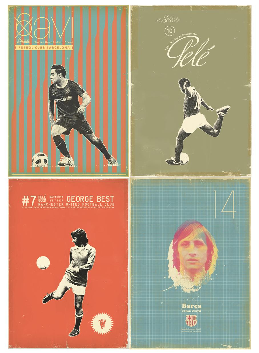 Carteles de Xavi, Pelé, Best y Cruyff - Zoran Lucic