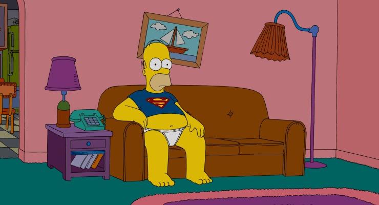 Homer en el famoso sofá del salón