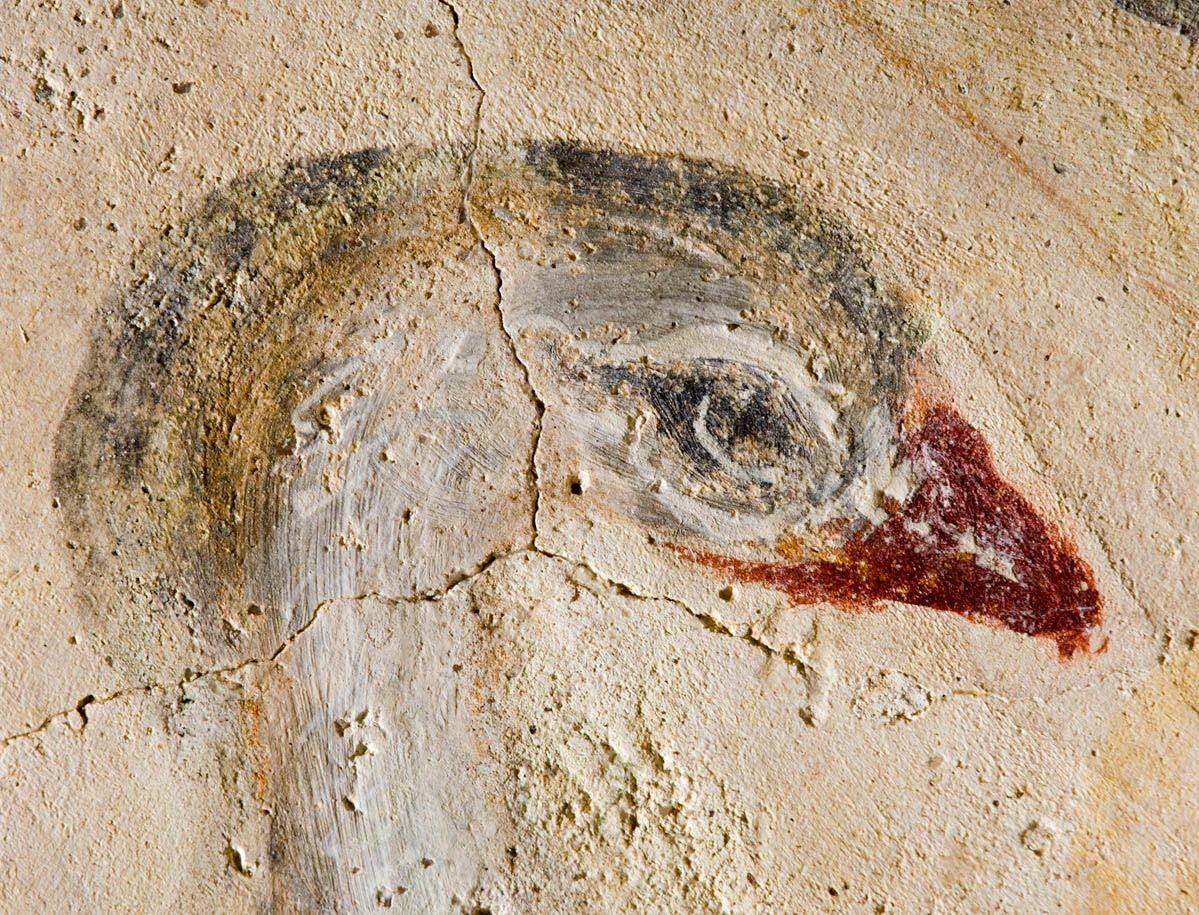 Detalle de un fresco en el posible templo priscilianista de Santa Eulalia de Bóveda (Lugo)