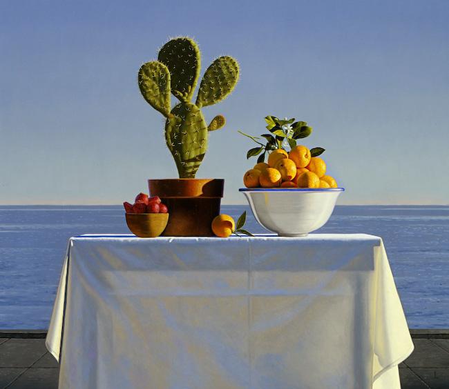 Naturaleza muerta con cactus y naranjas - David Ligare
