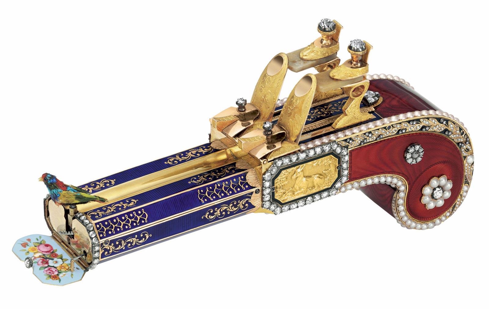Una de las dos pistolas con pájaro cantor atribuidas a los hermanos Rochat