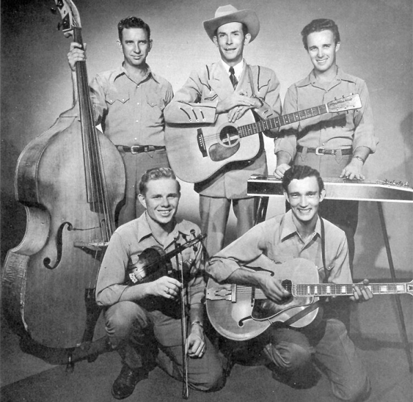 Hank Williams, con sombrero, y su grupo, los Drifting Cowboys