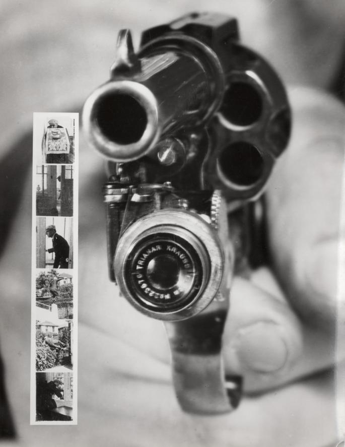 La Revolver-camera y una tira de seis fotos-disparo