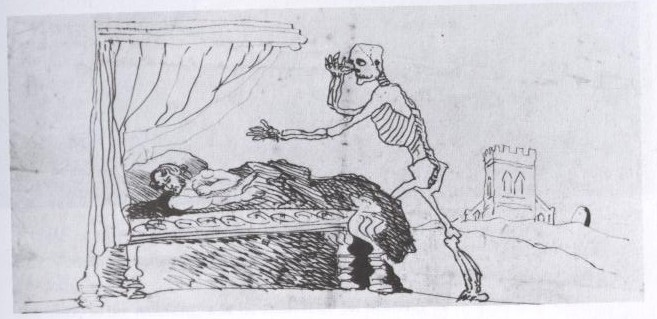 Caricatura de Branwell en la que se retrata esperando a la muerte