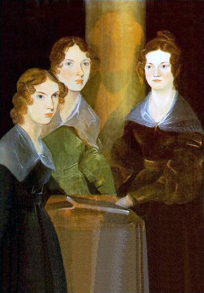 Las hermanas Brontë retratadas por su hermano Brawnwell, que aparece como una sombra