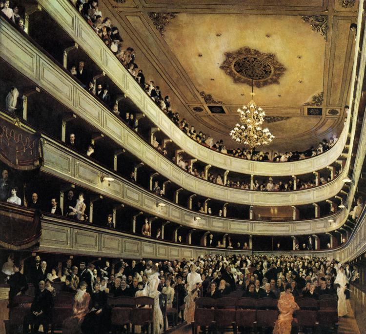 El interior del Burgtheater (1888), una de las obras tempranas de Klimt