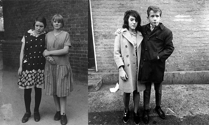 A la izquierda, foto de Sander. A su lado, una de Arbus