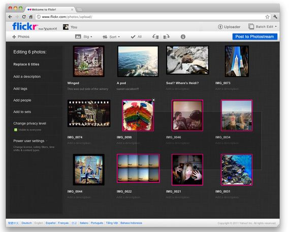 Captura de pantalla del nuevo 'uploader' de Flickr