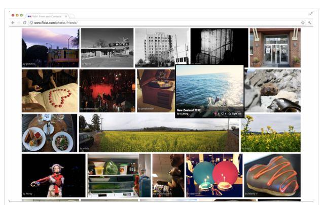 Captura de pantalla del nuevo aspecto de Flickr