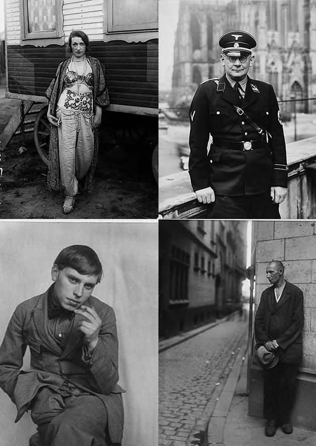 Cuatro fotos de August Sander, de entre 1920 y 1937