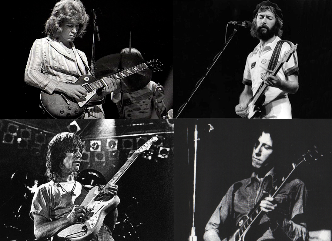 Arriba, Mick Taylor (izq.) y Eric Clapton. Abajo, Jeff Beck (izq.) y Peter Green.