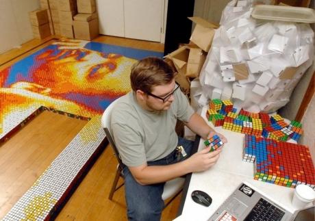 Pete Fecteau y sus cubos de Rubik