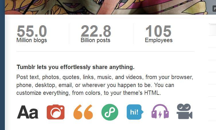 Captura de pantalla de la web corporativa de Tumblr
